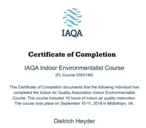 IAQA certificate